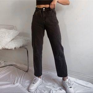 Article Black Paperbag Highwaist Straight Leg Jean